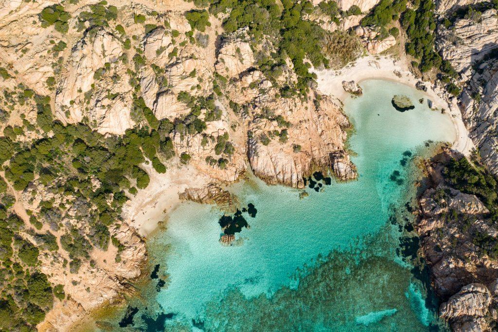 Aerial view of cala napoletana beach ,la Maddalena island ,sardinia, Italy
