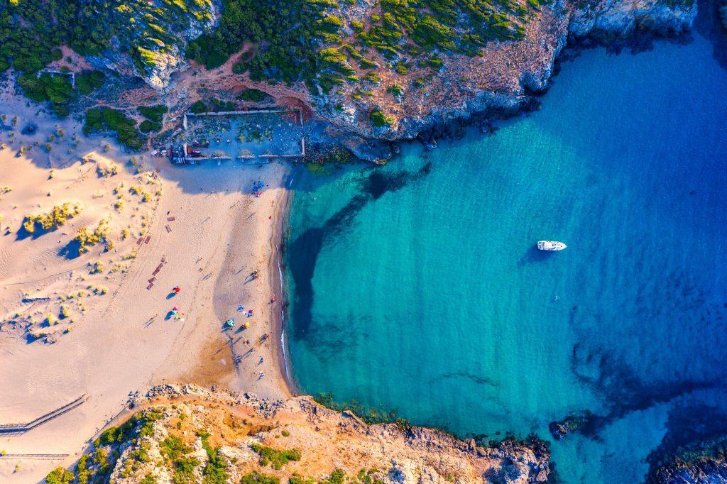 Cala Domestica beach, Sardinia, Italy. Sardinia is the second largest island in mediterranean sea. Sardinia, Cala Domestica beach, Italy. Beach Cala Domestica, Sardegna, Italy.