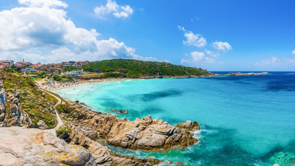 Landscape with Santa Teresa Gallura and Rena Bianca beach, north Sardinia island, Italy
