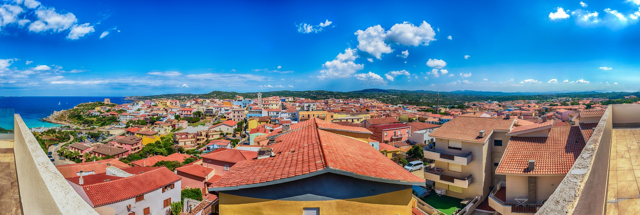 Scenic aerial view over the town of Santa Teresa Gallura, located on the northern tip of Sardinia, on the Strait of Bonifacio, in the province of Sassari, Italy