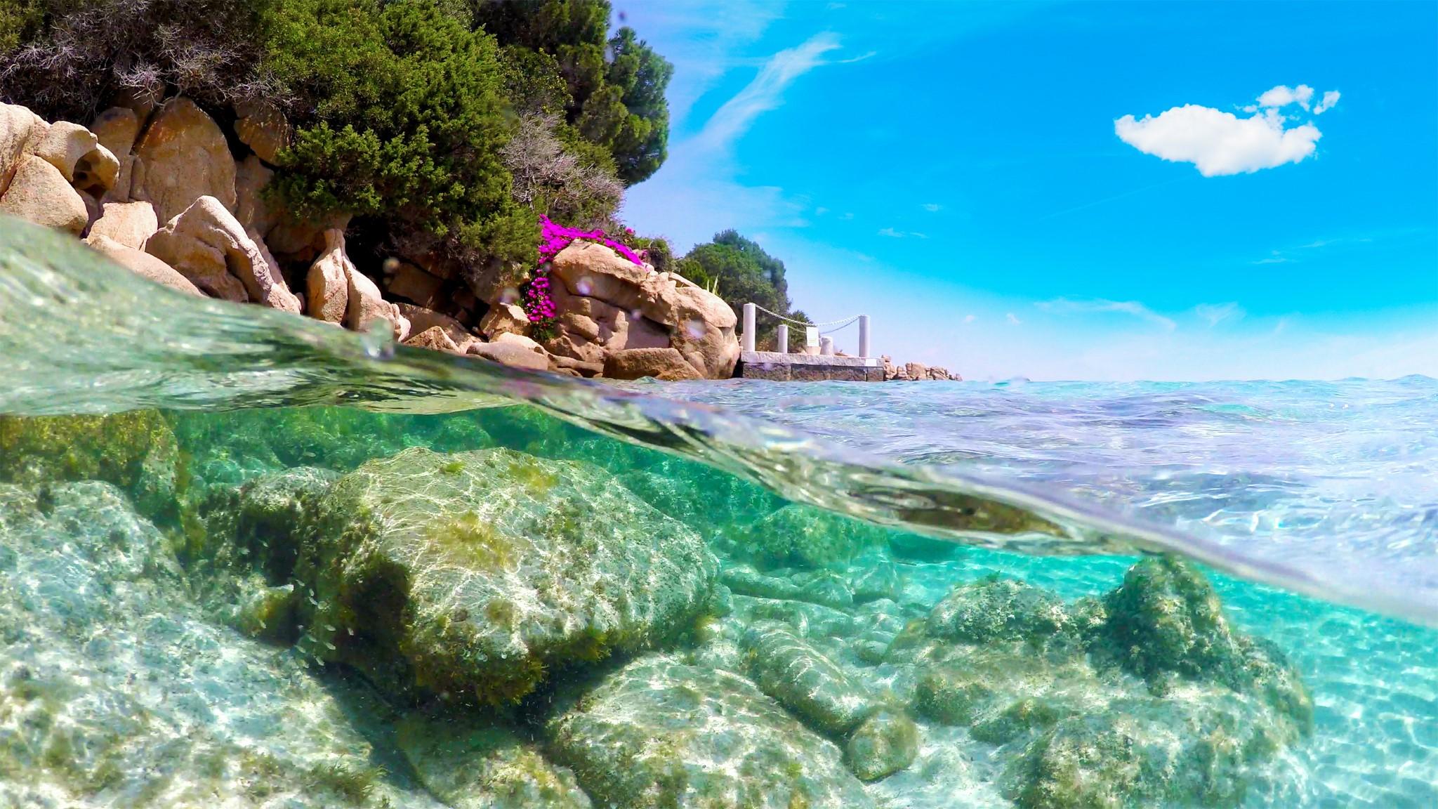 Split underwater view of Capriccioli beach coastline. Sardinia, Italy