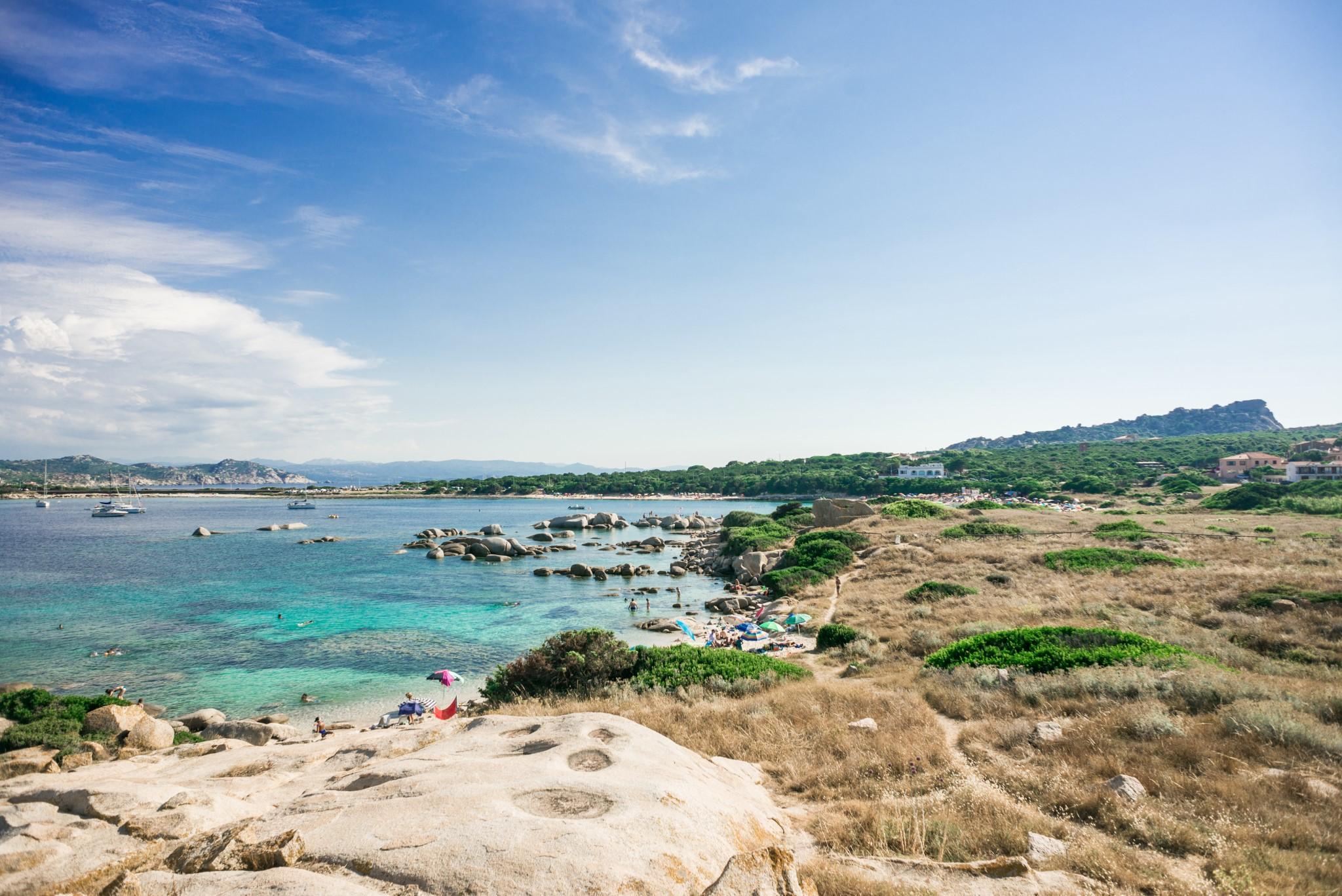 Zia Culumba Beach. Sardinia. Capo Testa. Italy. Top View to Sea.