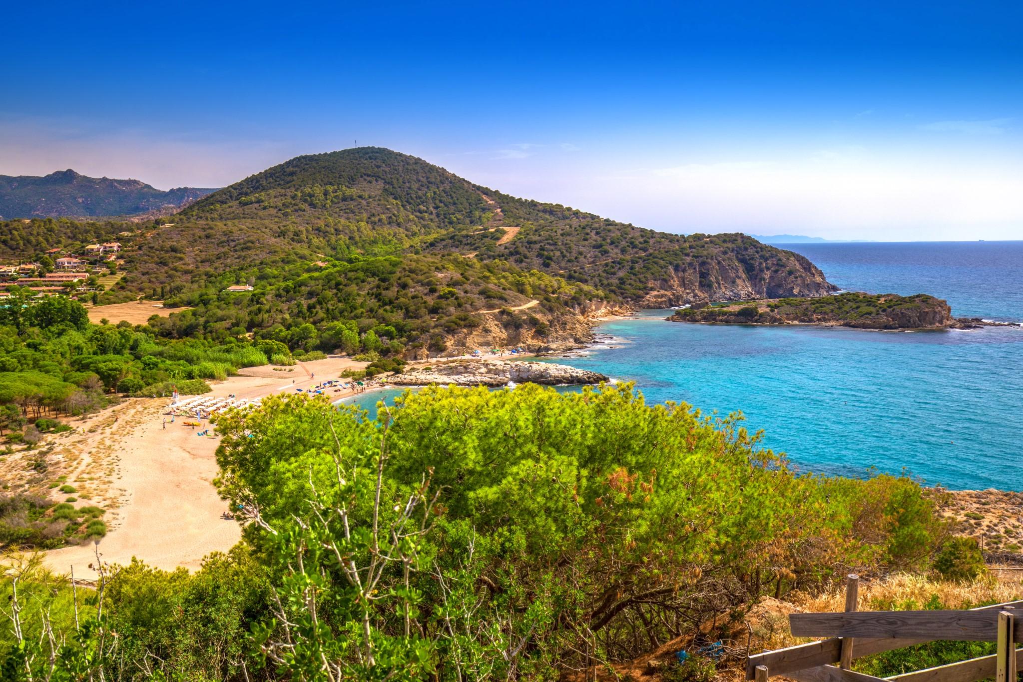 Su Portu beach near Spaggia di Chia Sa Colonia and famous Chia beach, Sardinia, Italy, Europe. Sardinia is the second largest island in the Mediterranean Sea