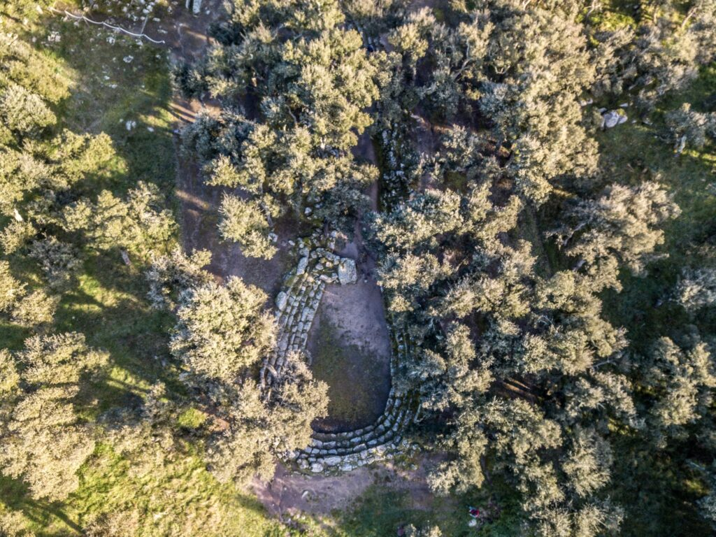 Aerial view of an archaeological site in Sardinia. Su Romanzesu, between the vegetation, central Sardinia