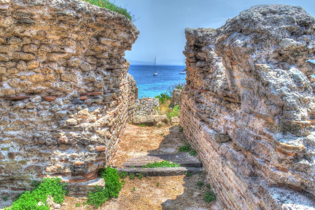 ancient ruins in Tharros, Italy. Processed for hdr tone mapping effect.