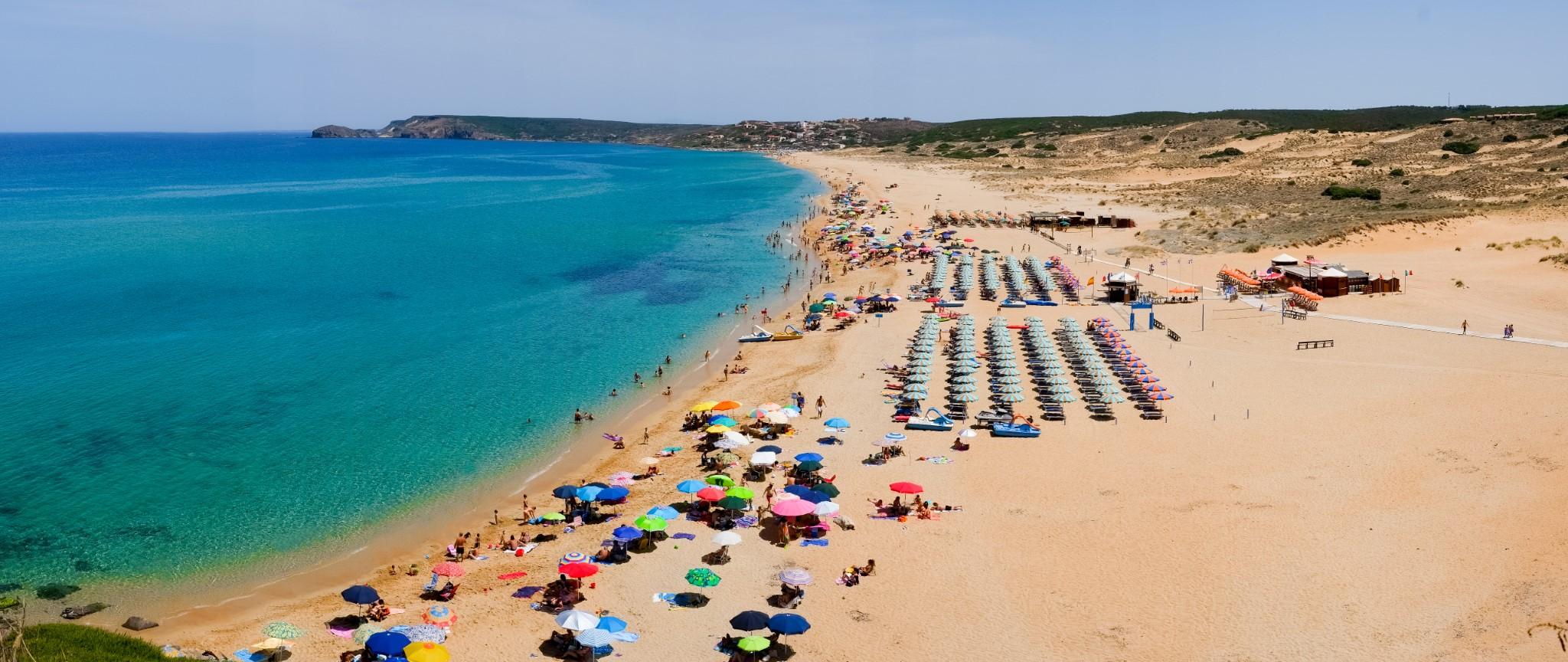 Panorama of Torre dei Corsari beach along Green coast, west Sardinia, Italy