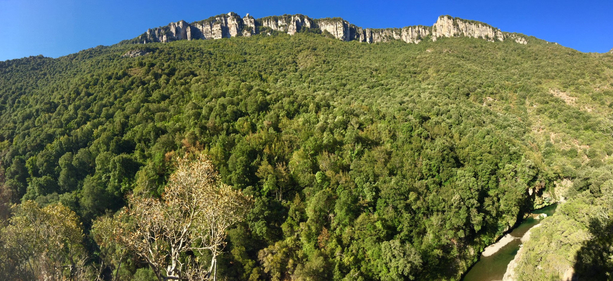 Panoramic view of the green mountains of Barbagia near Seulo in the center of Sardinia