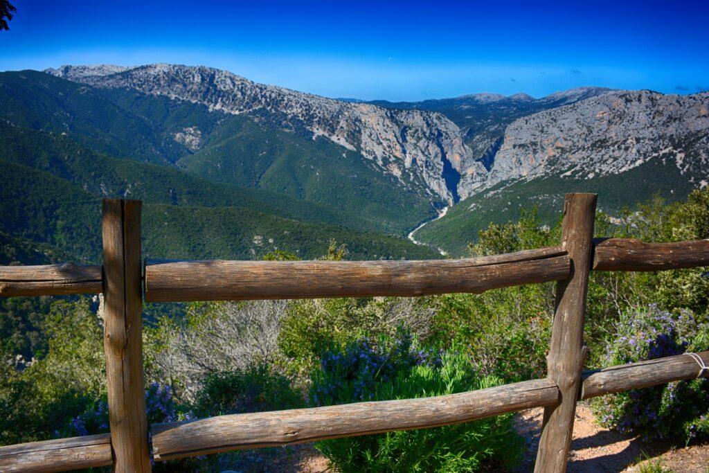 View of mountains and Su Gorroppu in Sardinia.