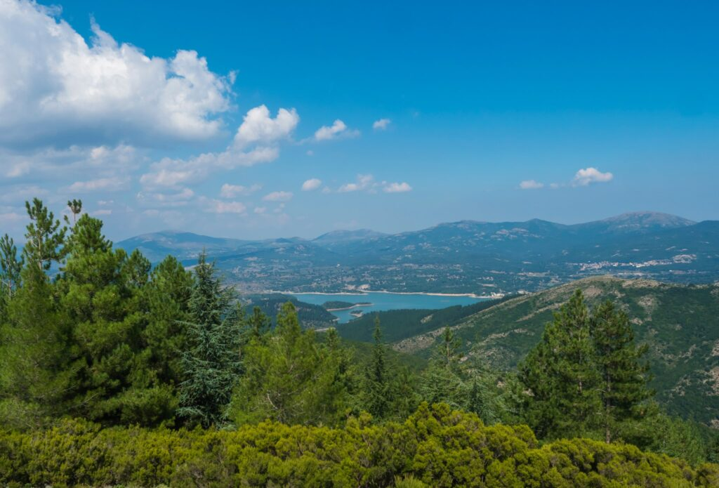 view of the National Park of Barbagia with blue lake lago Alto del Flumendosa, limestone rocks, green forest, hill and mountains. Central Sardinia, Nuoro, Italy, summer day