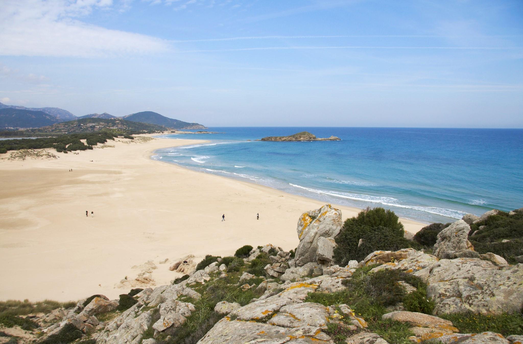 Beach of Su Gudeu, Chia, Sardinia, Italy