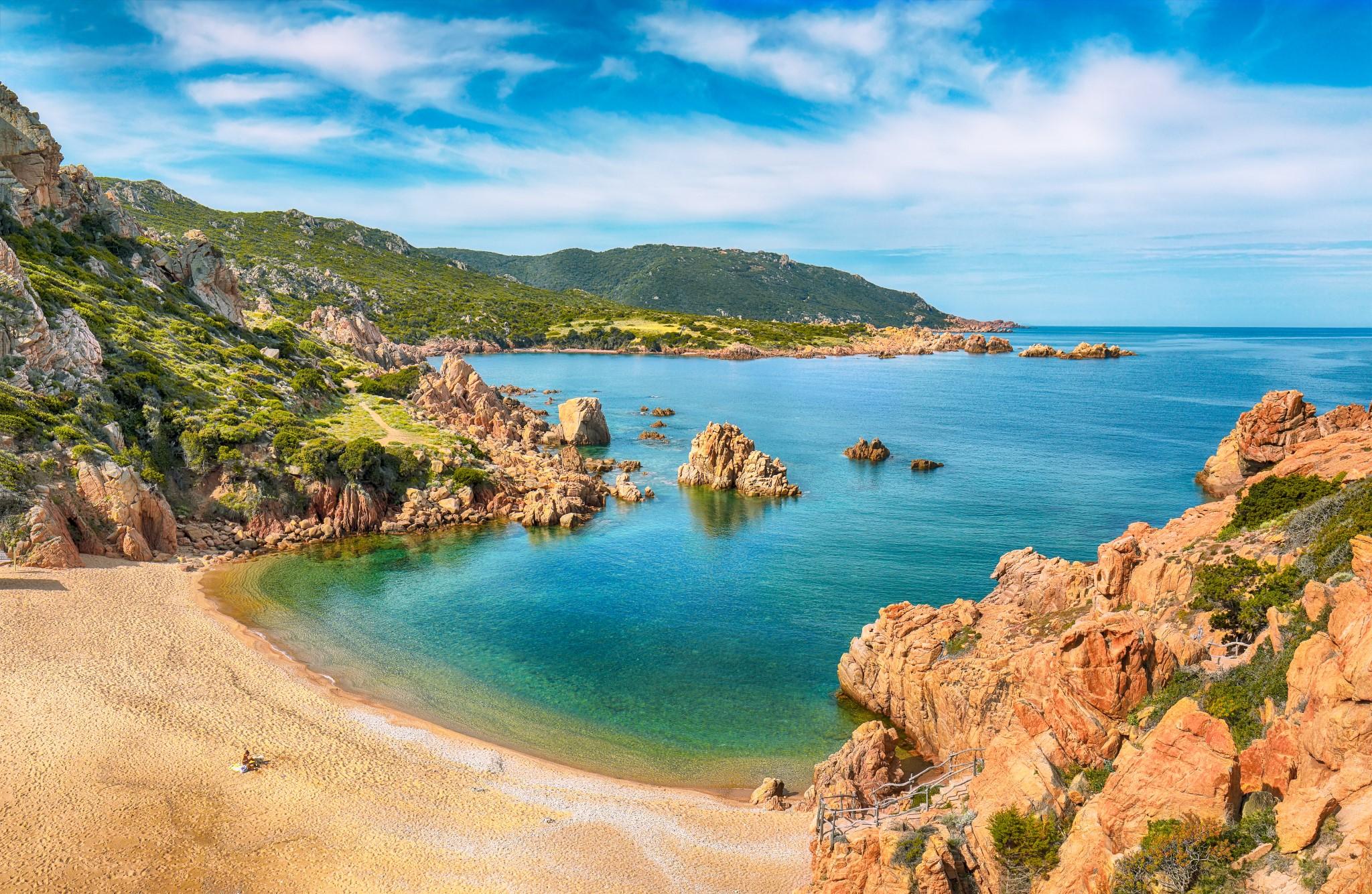 Captivating view of Li Cossi beach on Costa Paradiso resort. Picturesque seascape of Mediterranean sea. Location:  Costa Paradiso, Province of Sassari, Sardinia, Italy, Europe