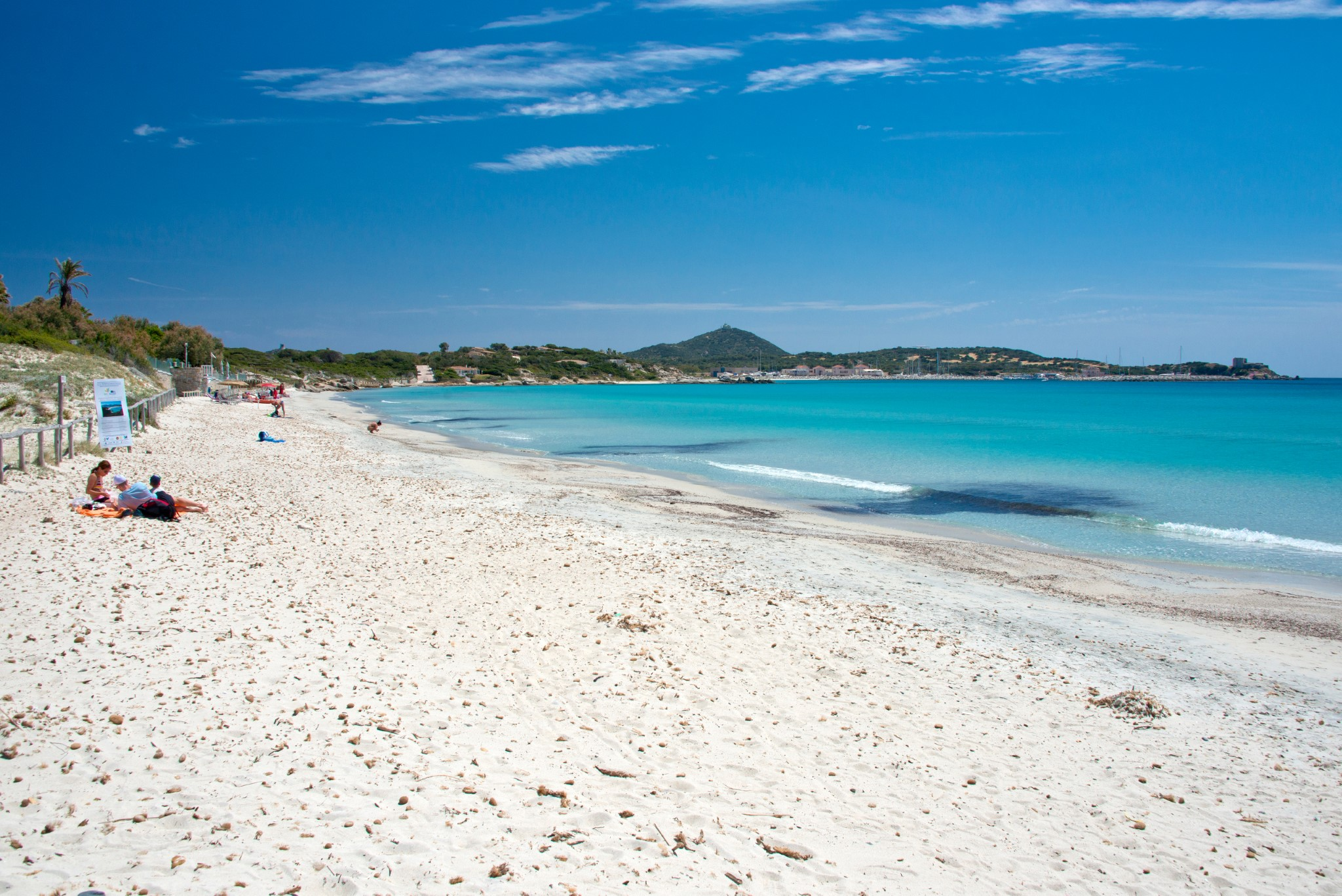 crystal clear water and white sand at Campulongu beach in Villasimius