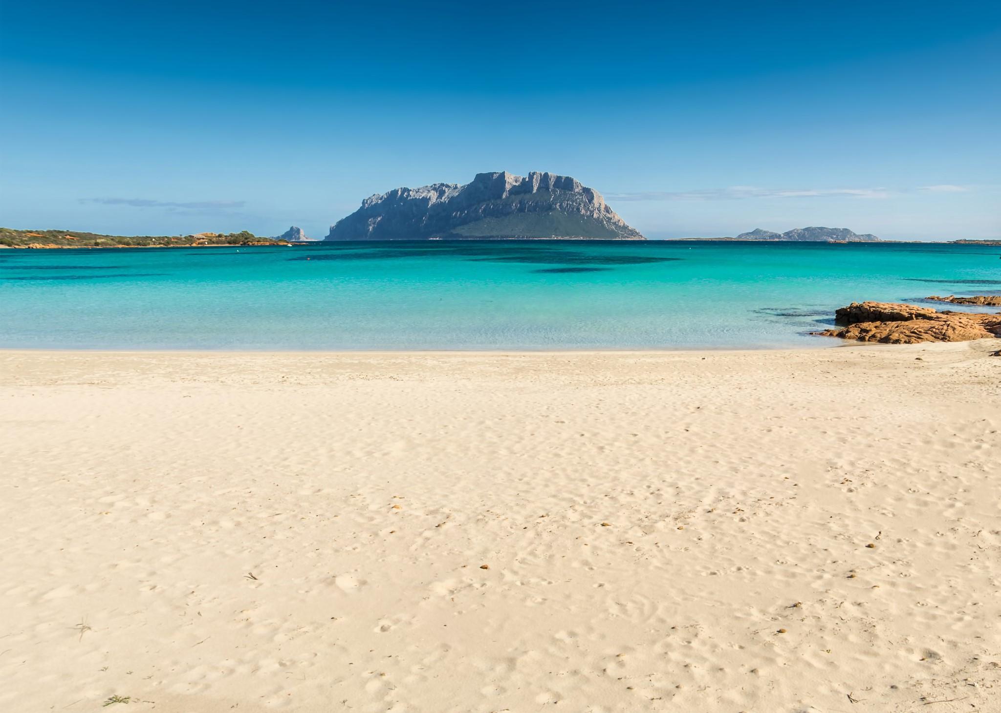 Crystalline sea on the beach of Porto Istana, Olbia, north-east coast of Sardinia, Italy