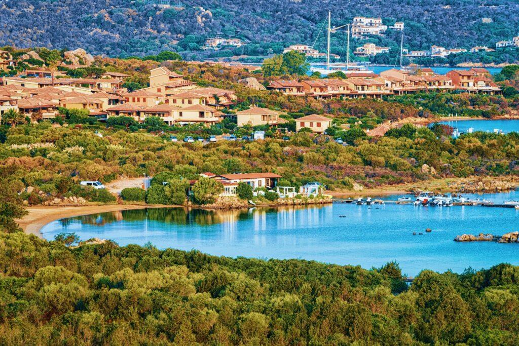 Panorama of Porto Rotondo in Golfo Aranci on Costa Smeralda resort in Mediterranean sea, Sardinia, Italy