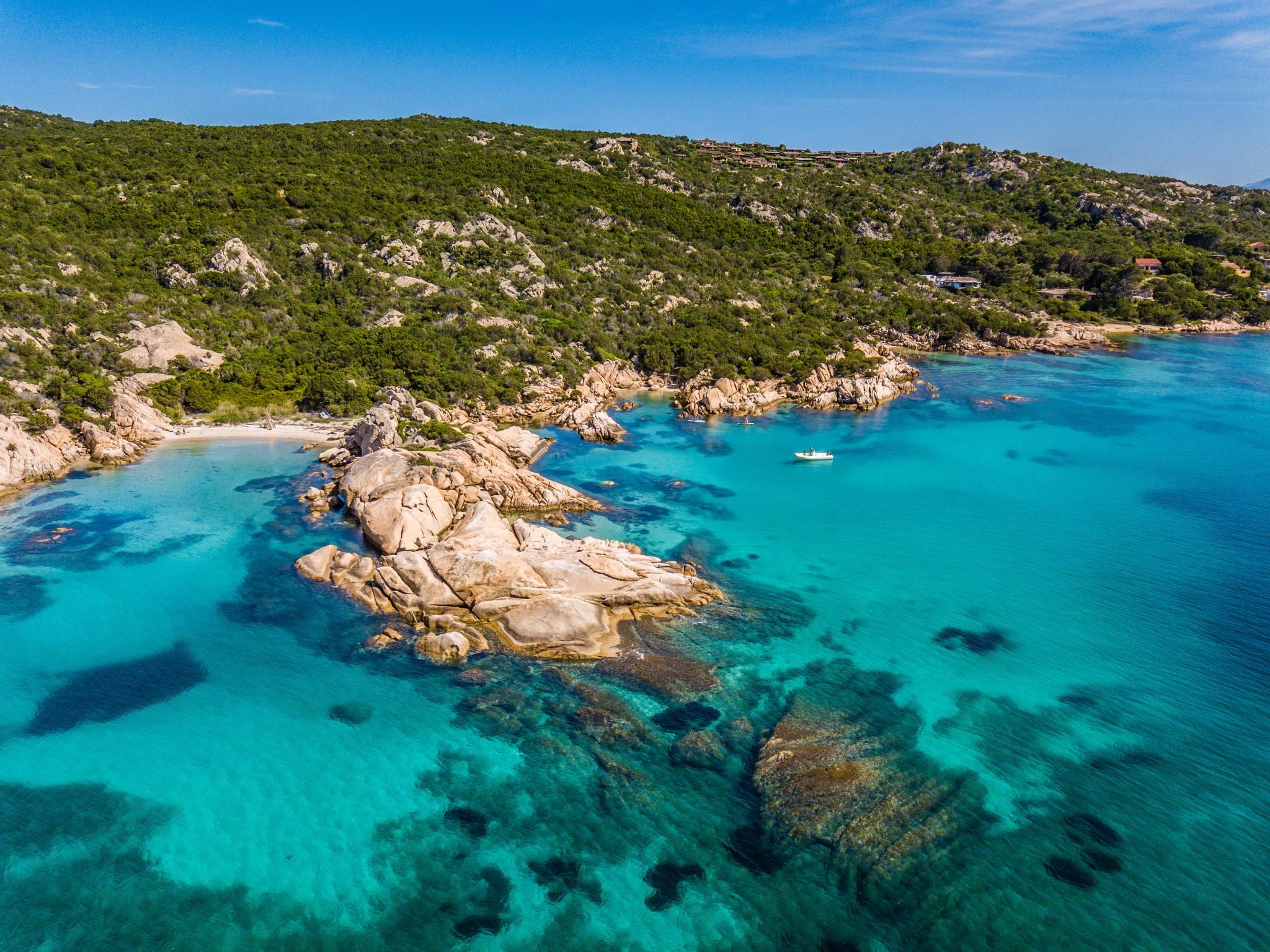 Spiaggia delle vacche and spiaggia della tartaruga at Cala Girgolu bay in San Teodoro, Sardinia.