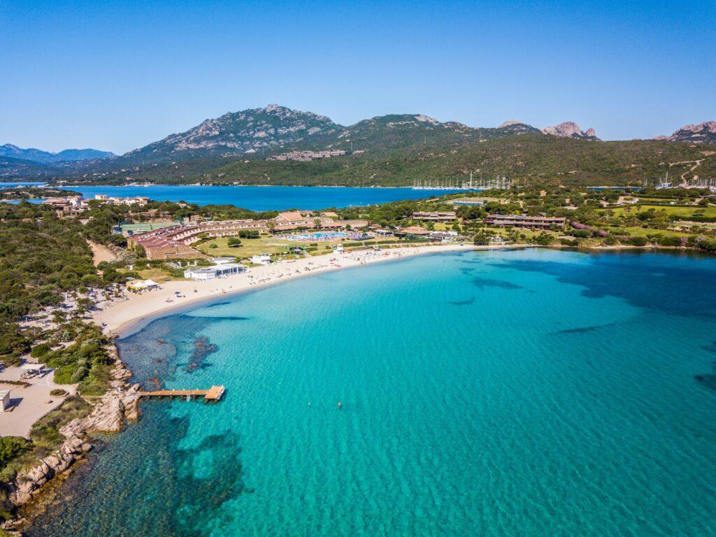 The amazing beach of spiaggia Ira in Porto Rotondo viewed by drone, Olbia, Nord Sardinia - Italy