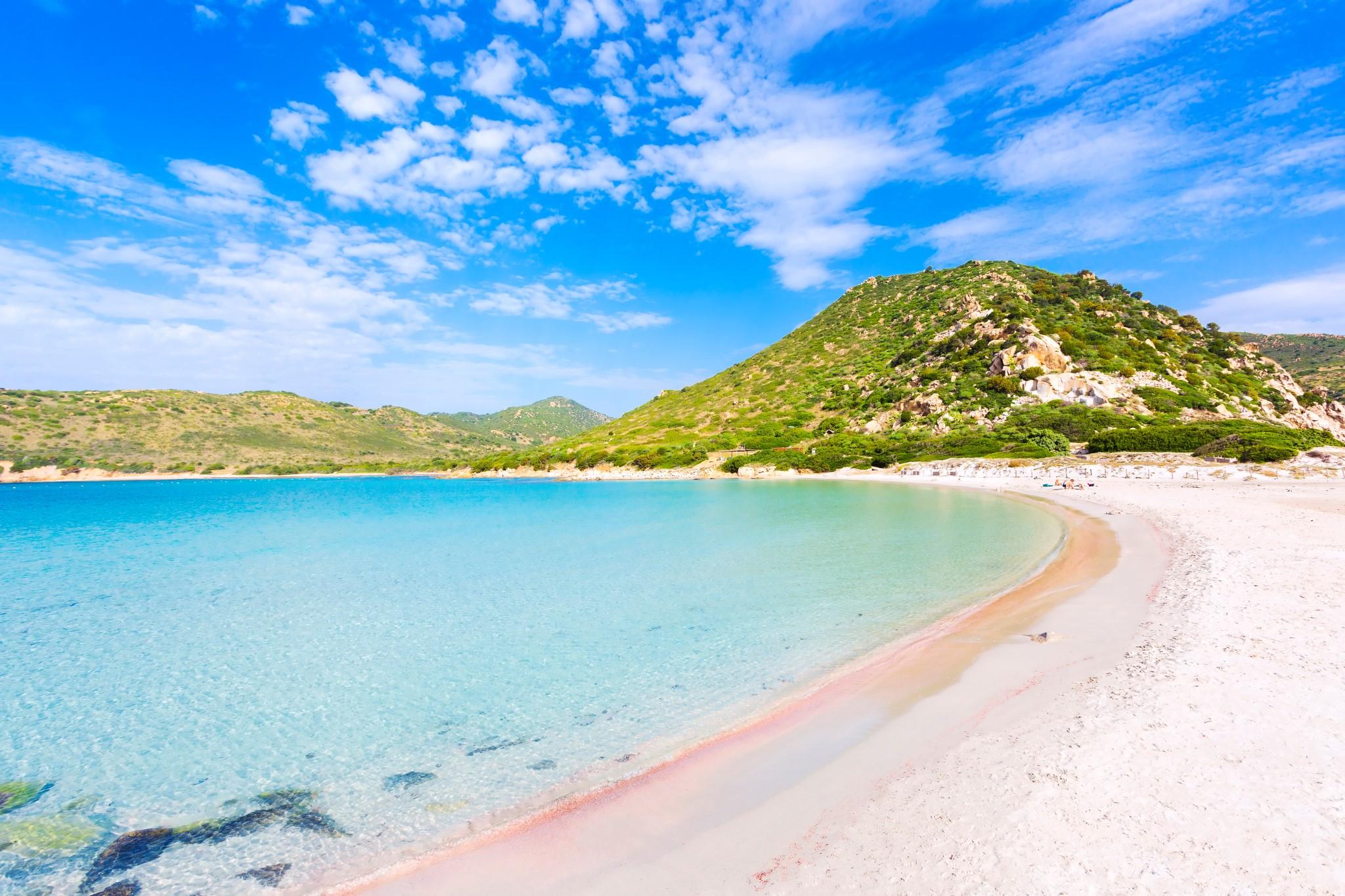 Paradise beach of Punta Molentis bay, Sardinia island, Italy