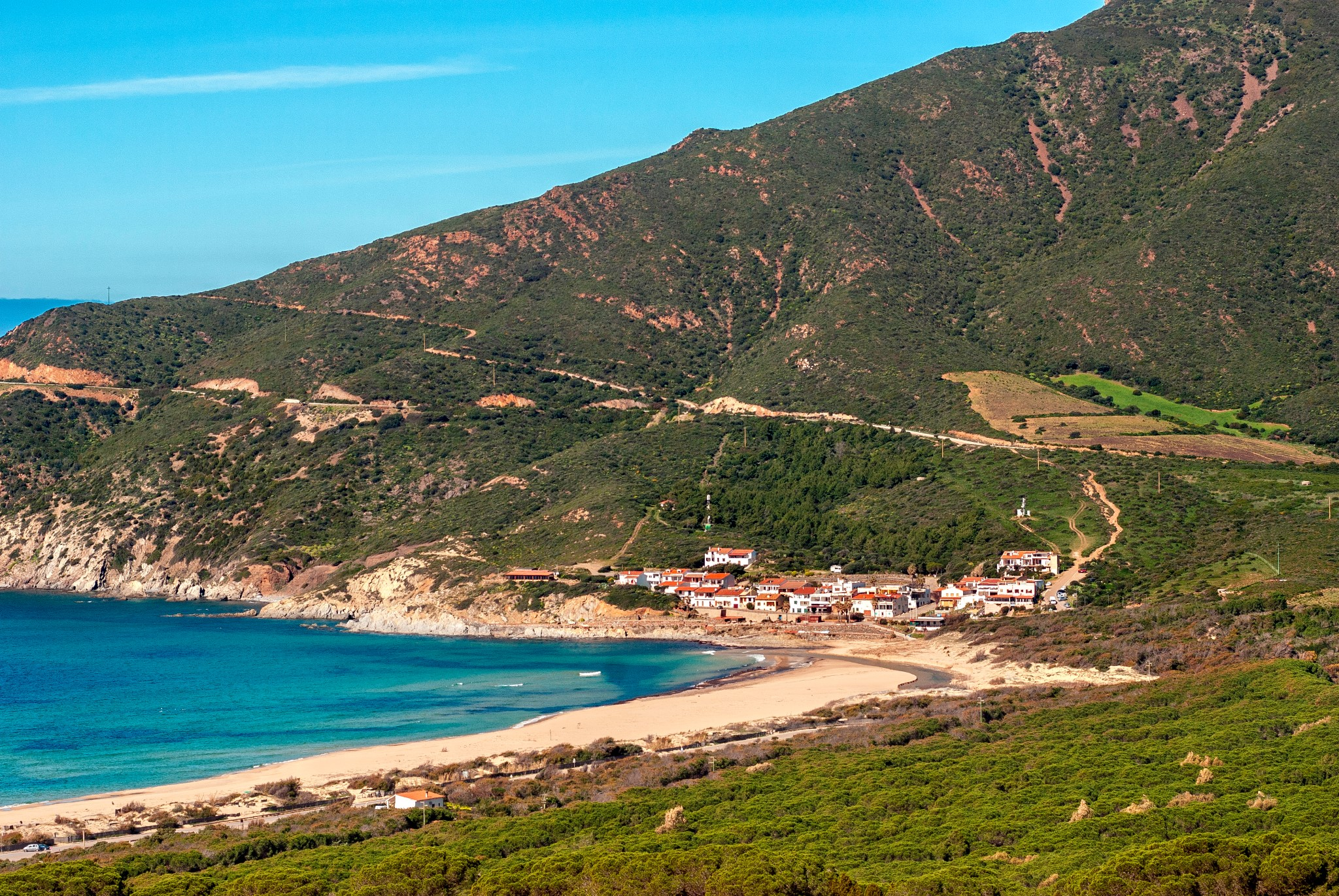 Sardinia, view of Portixeddu beach, Italy