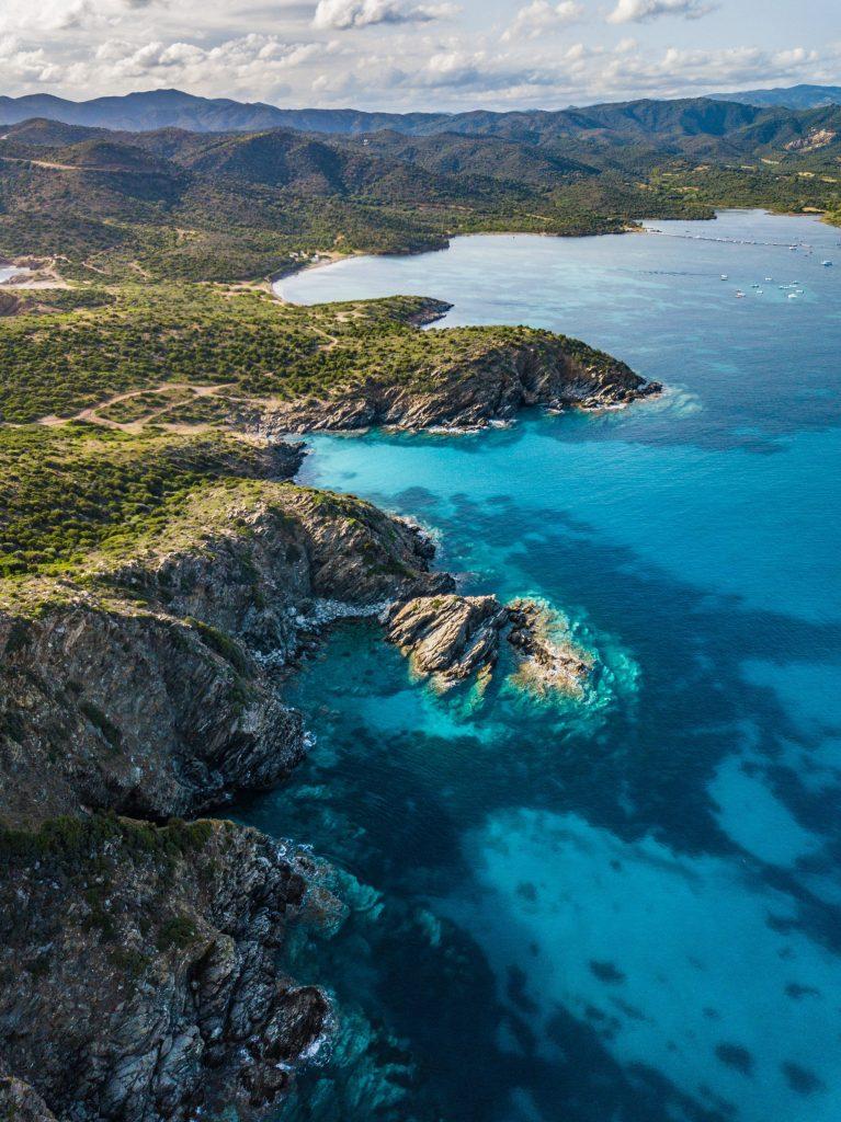 A view by drone of Capo Malfatano coastline in Teulada, south Sardinia