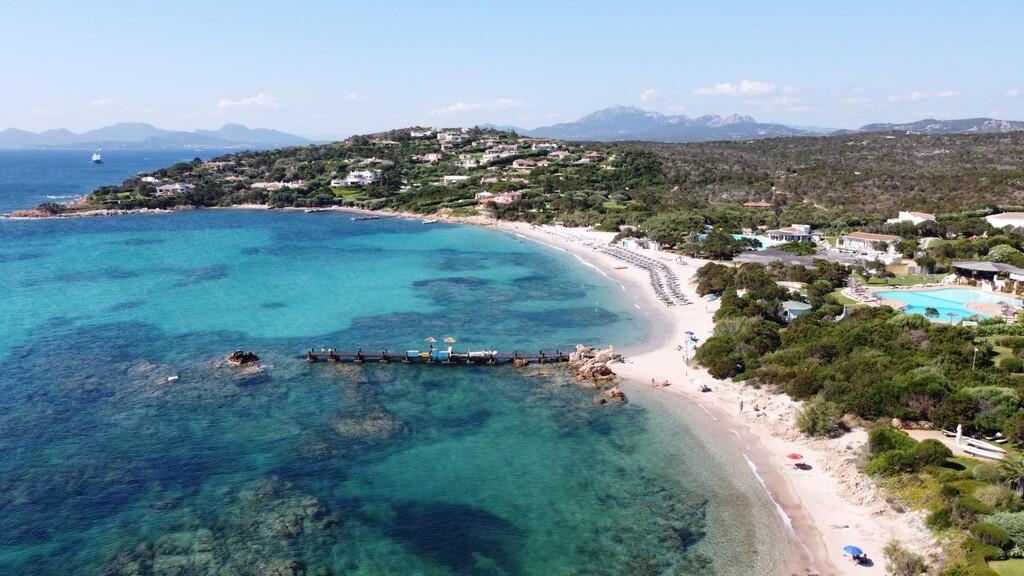 Aerial view of Romazzino beach, costa Smeralda, Sardinia, Italy