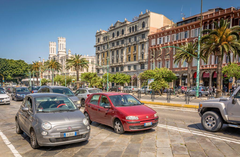 CAGLIARI, Sardinia, Italy - april 29, 2018: View of the main street (Via Roma). Elegant and historical buildings of Via Roma on the sea-front at Cagliari, Sardinia, Italy.