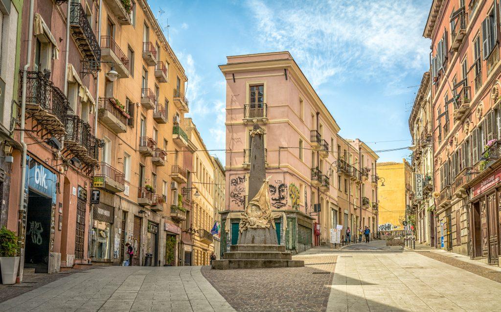 CAGLIARI, Sardinia, Italy - april 29, 208: The Piazza Martiri d'Italia in the center of the old town quarter of Cagliari, Sardinia.