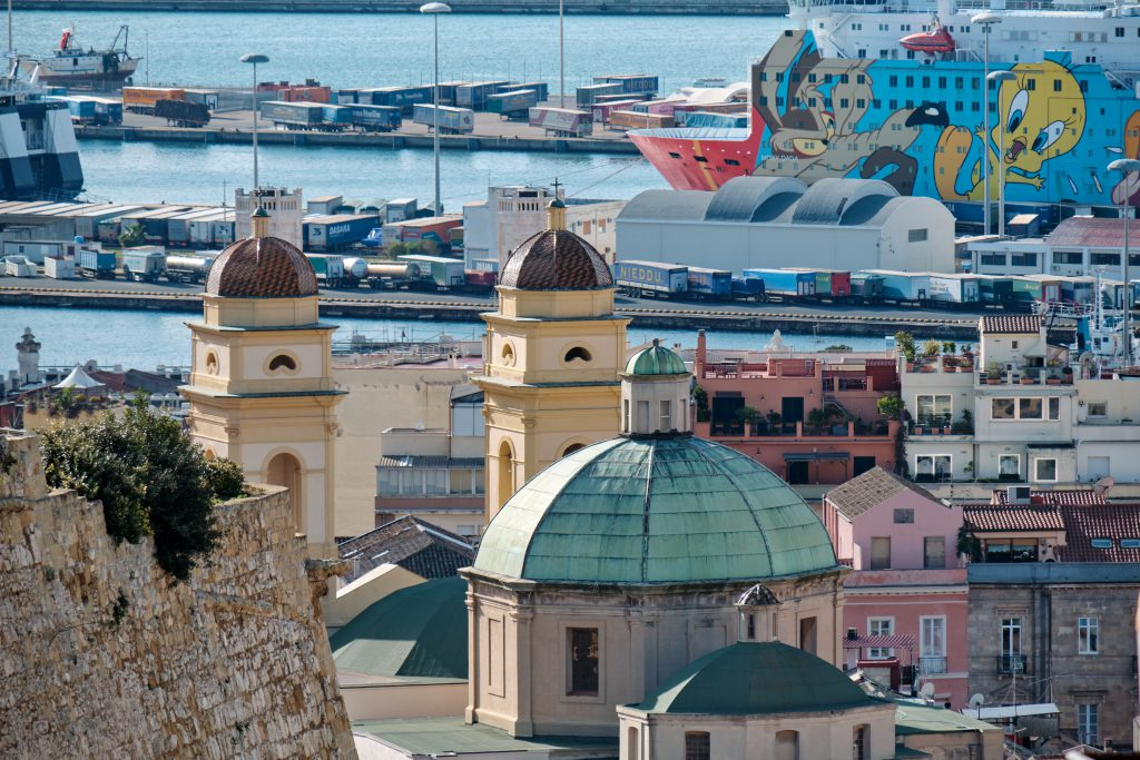 DECEMBER 2020 - Panorama of the city of Cagliari, Sardinia, Italy. Stampace district.
