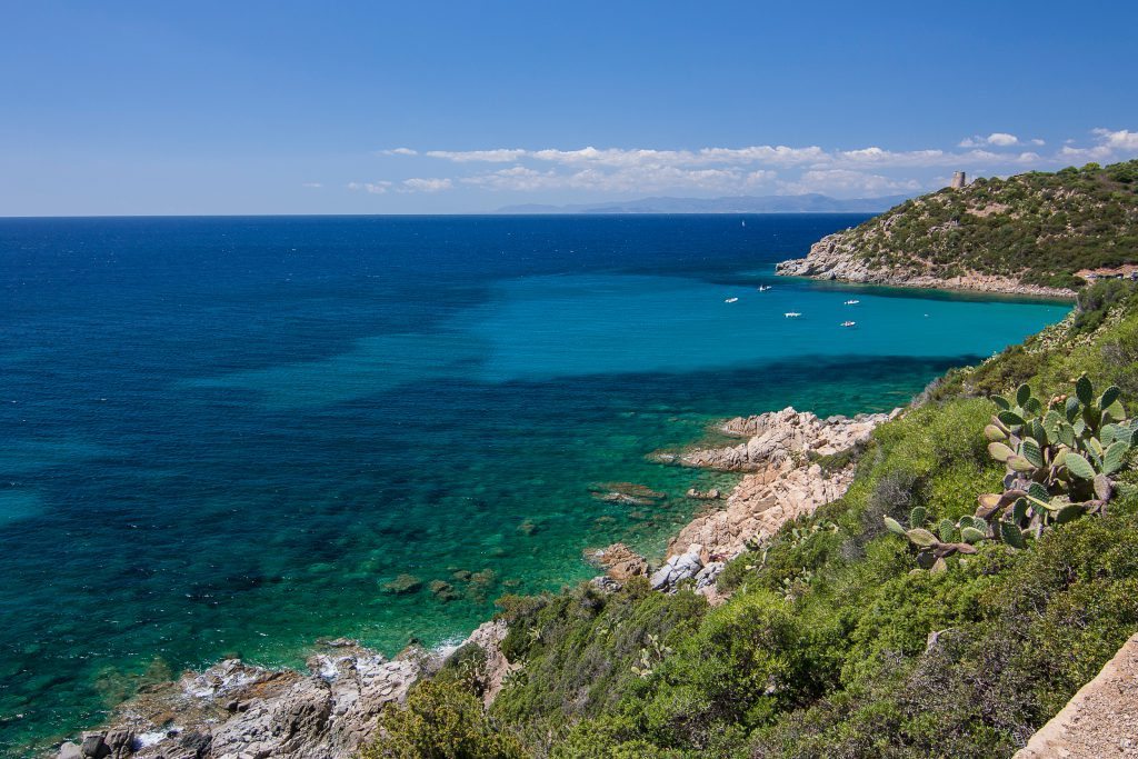 Sea view with panorama of Cagliari. Location Cala Regina - the Beach in South-East of Sardinia.