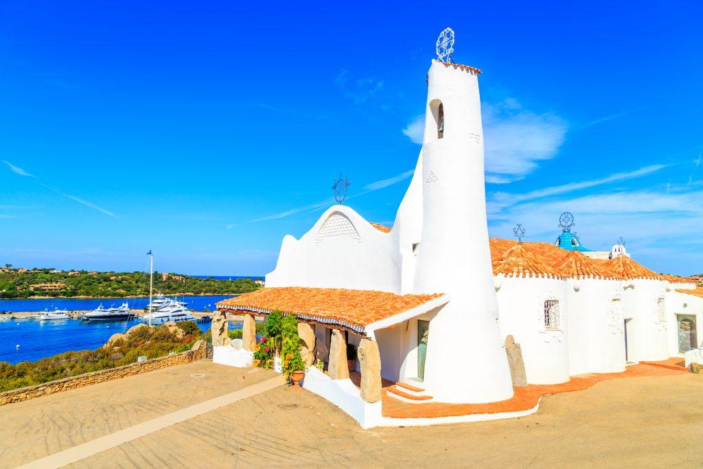A view of a Stella Maris Church in Porto Cervo, Sardinia