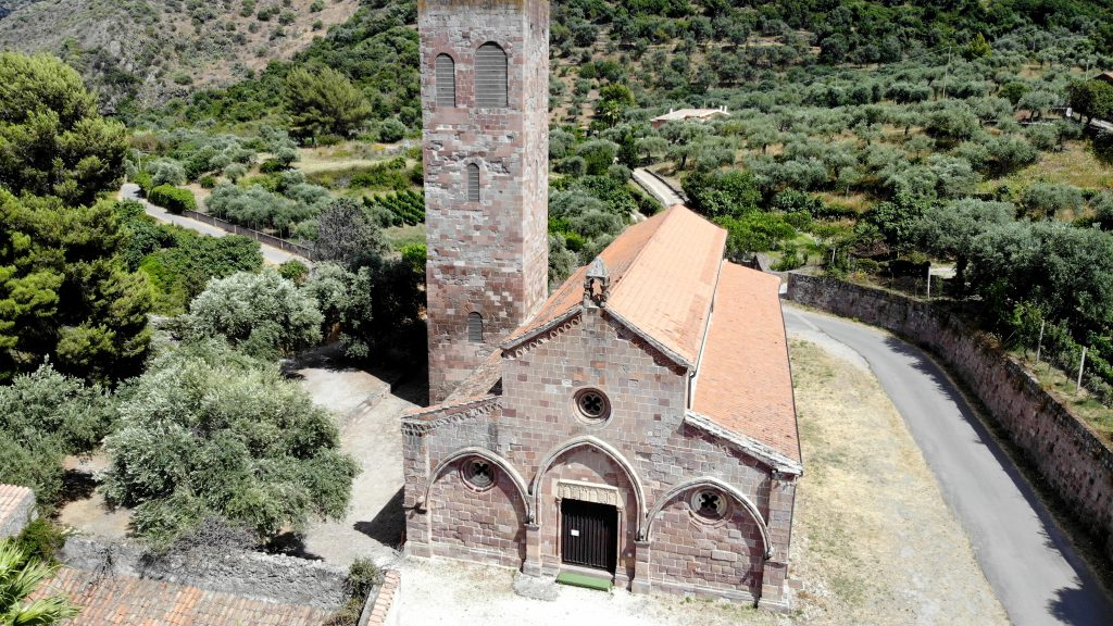 aerial view, Romanesque church San Pietro, Sardinia, Italy