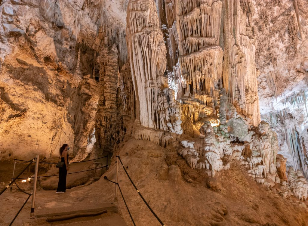 Alghero, Italy - 31 August 2020 - The Neptune's Grotto ('Grotte di Nettuno' in italian) is a stalactite cave near Alghero city on the island of Sardinia. Famous for the rock staircase of 654 steps.
