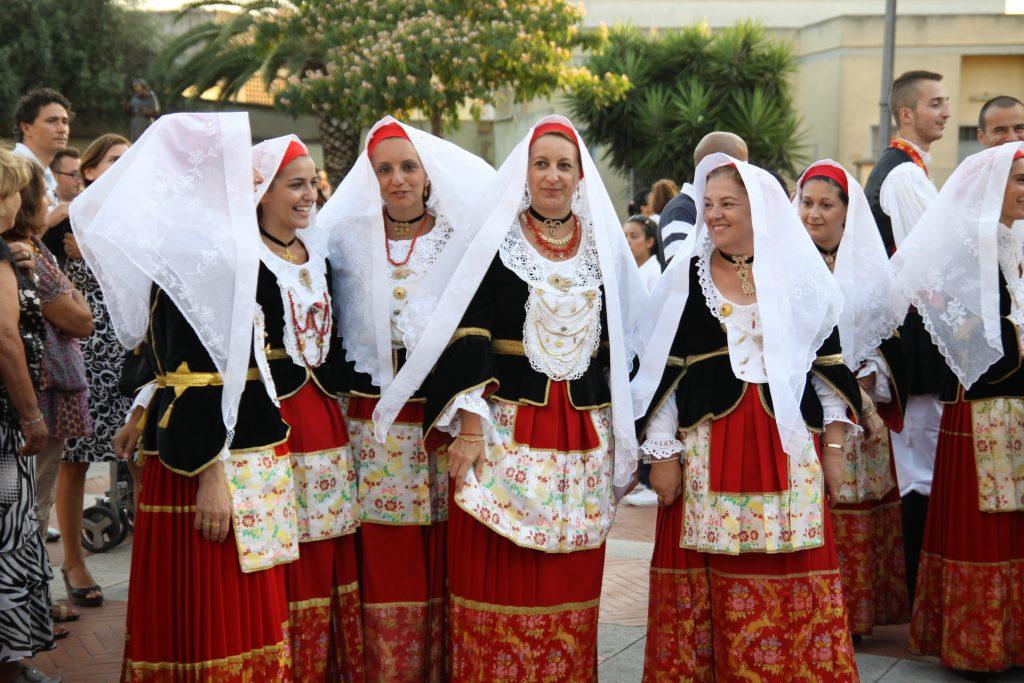 ASSEMINI, SARDINIA - AUGUST 1:Folklore dancers participating at the International Folk Festival Is Pariglias 2012, on August 1, 2012 in Assemini, Sardinia.