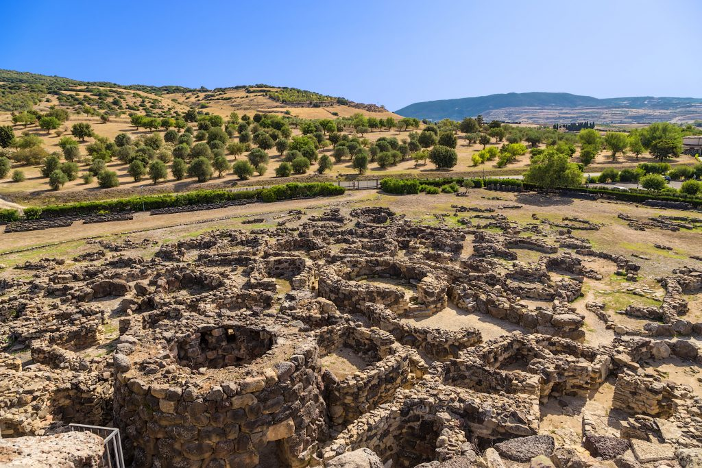 Barumini, Sardinia, Italy. View of archeological nuragic complex of Su Nuraxi di Barumini. UNESCO World Heritage List