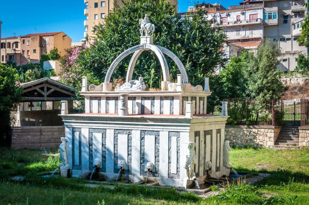 Fountain Rosello in the middle of italian city of Sassari, Sardinia