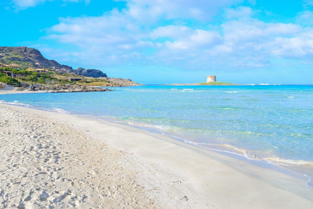 La Pelosa beach under a cloudy sky, Sardinia