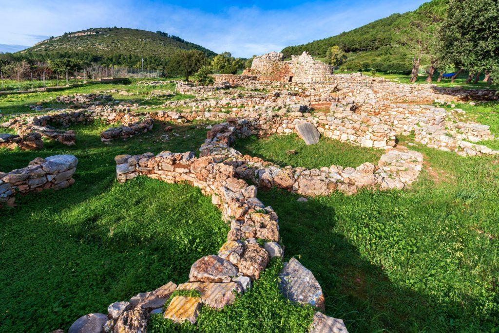 Nuragic complex of Palmavera, archaeological site with stone ruins of a Nuragic settlement from the Bronze Age, Porto Conte, Alghero - Sardinia
