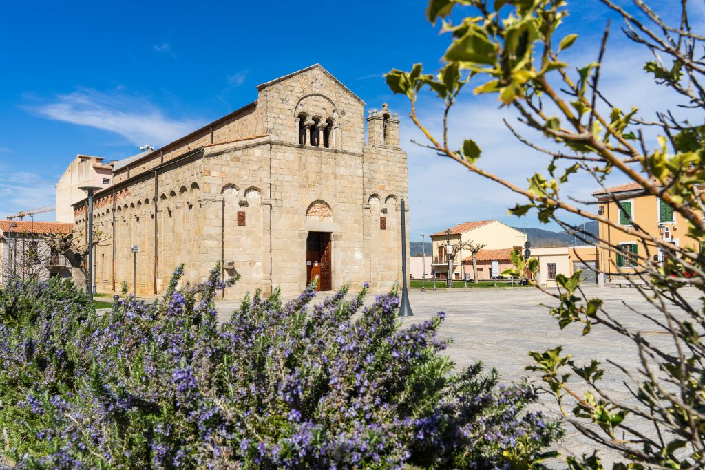 Olbia, Sardinia, Italy - 03/20/2019 The basilica of San Simplicio, the main church  of the city