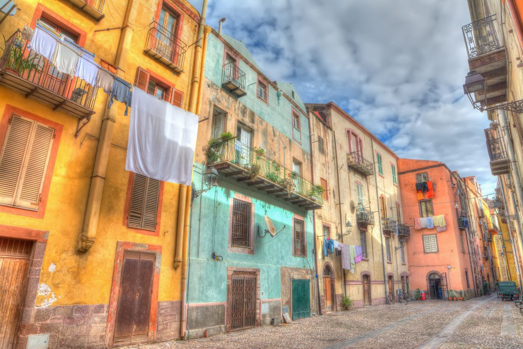old backstreet in Bosa, Sardinia. Processed for hdr tone mapping effect.