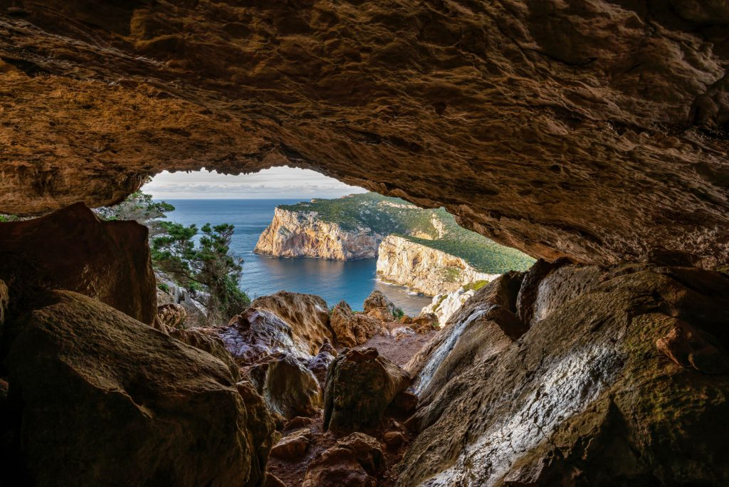 Panoramic view from the cave of the broken vessels of the protected marine area of Capo Caccia, Alghero - Sardinia