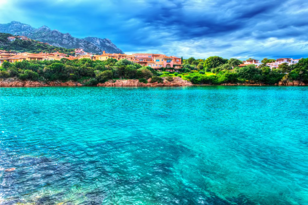 Porto Cervo shore on a cloudy day. Shot in Costa Smeralda, Italy. Processed for hdr tone mapping effect