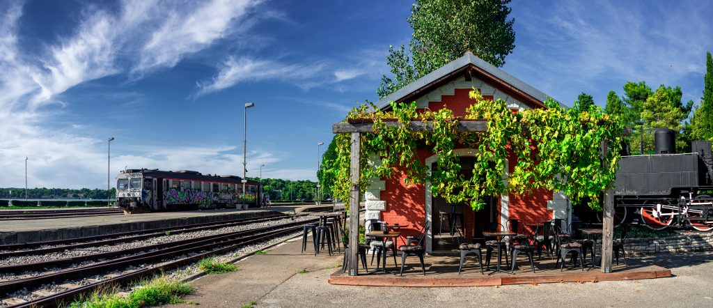 PULA -CROATIA AUG 2019: Panoramic View of the old Train Station in Pula, Istria