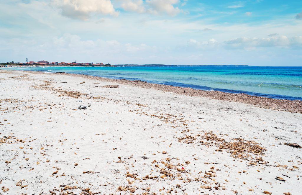 putzu idu beach on a cloudy day