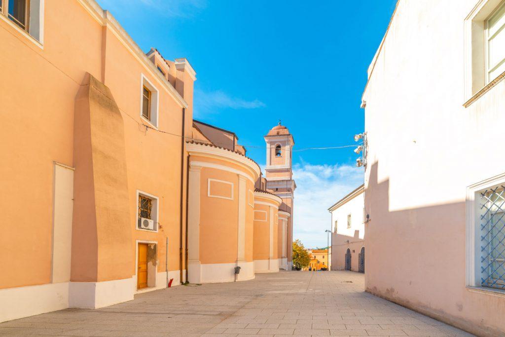 Santa Maria della Neve cathedral on a sunny day. Nuoro, Sardinia