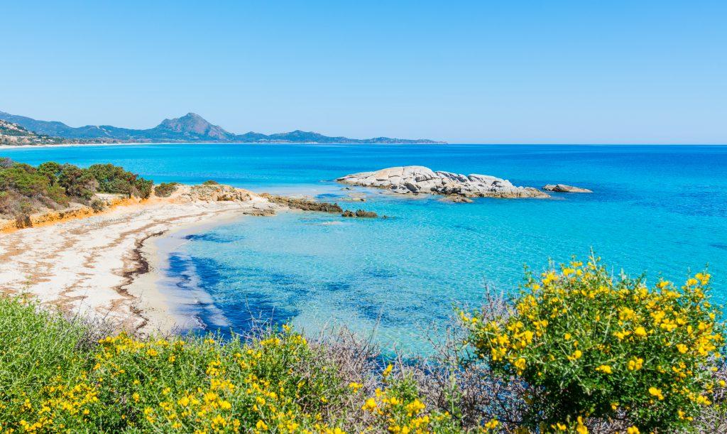 Scoglio di Peppino beach on a sunny day. Costa Rei, Sardinia