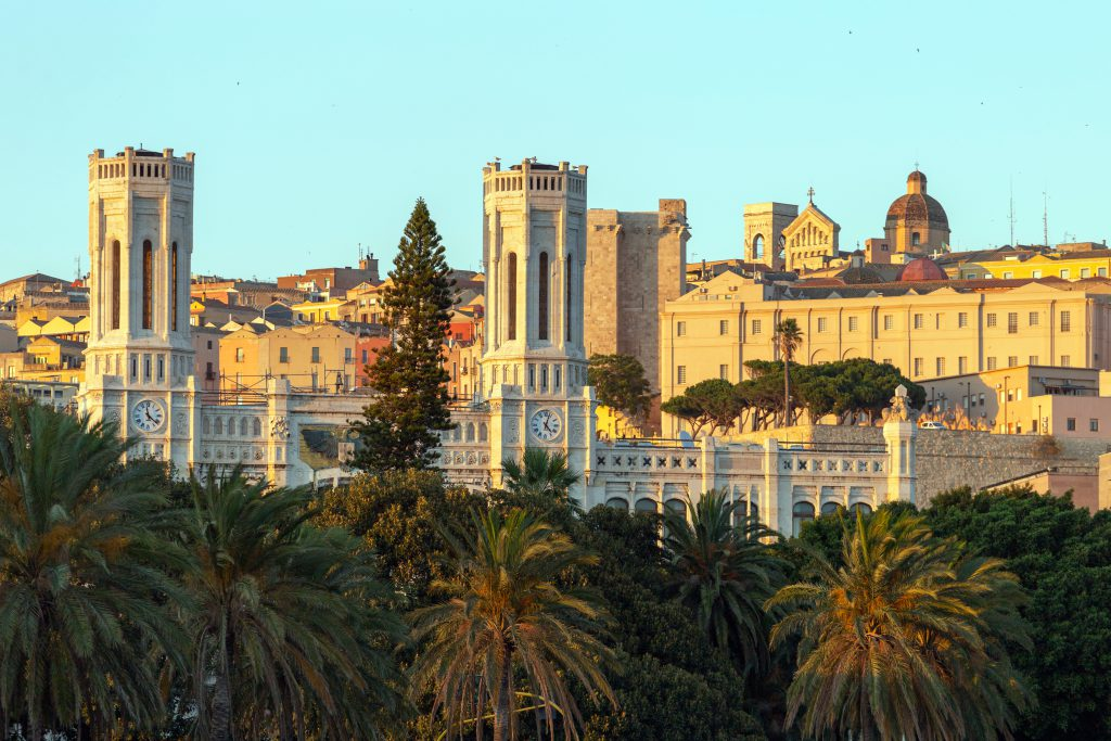 View of the city Cagliari on the island of Sardinia, Italy with the Civic Palace in the foreground.