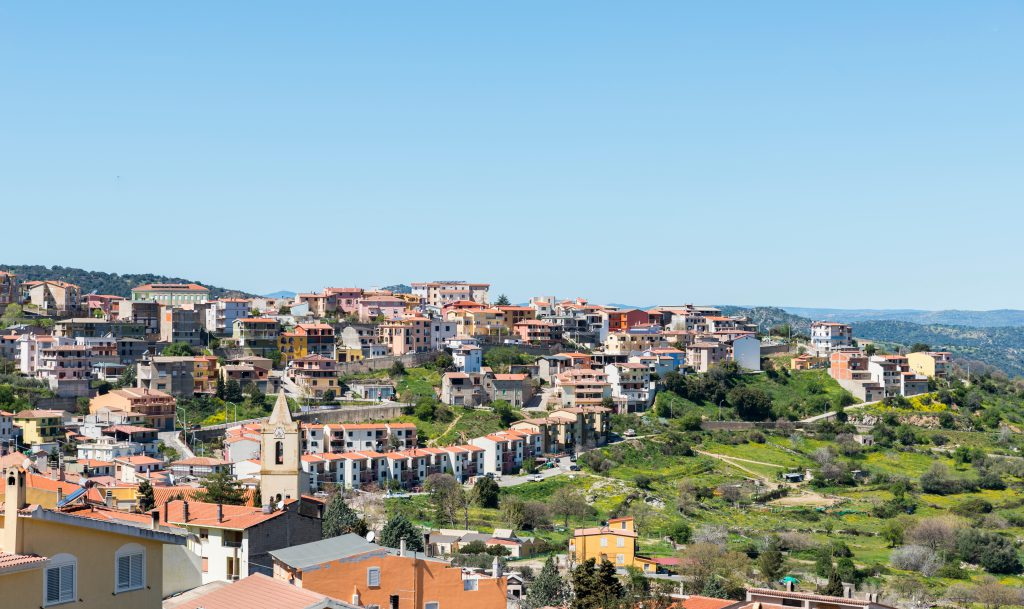 View over Orgosolo , province Nuoro, Sardinia, island of Italy