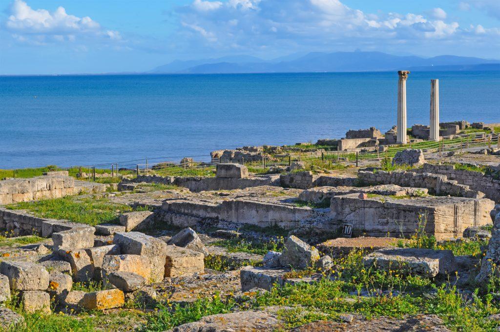 Tharros ruins and blue sea in Sardinia