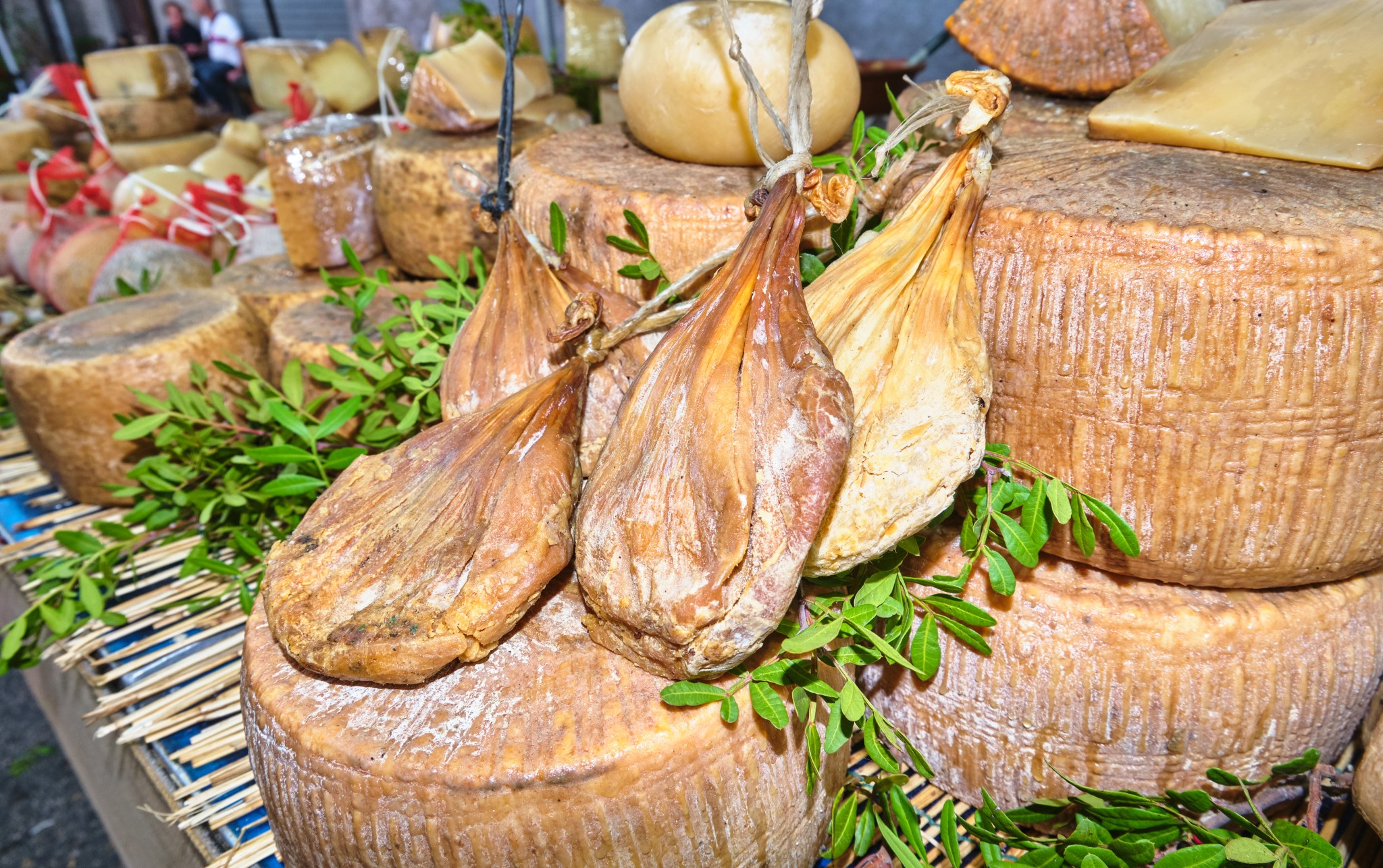 Su Callu, traditional sardinian seasoned cheese closed in a bowel of little lamb, Sardinia, Italy